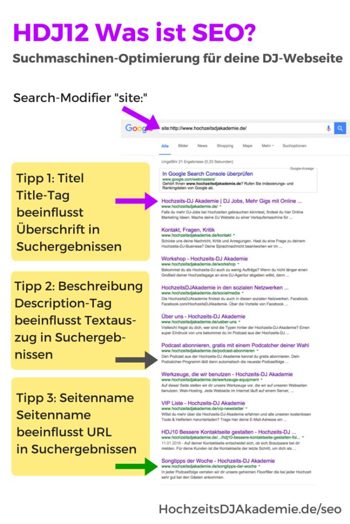 Titel, Beschreibung und URL als Basis für Suchmaschinen-Optimierung deiner DJ-Webseite