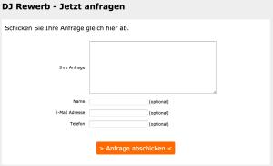 Kontaktformular, Beispiel DJ Rewerb aka Thorsten Weber