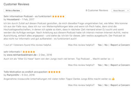 3 neue Rezensionen im Apple Podcast Verzeichnis