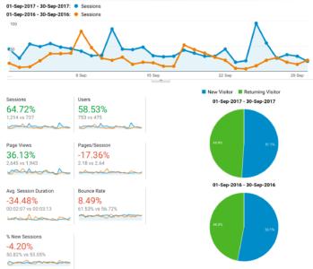Vergleich der Google Analytics Messwerte, Verhältnis neuer vs. wiederkehrender Besucher